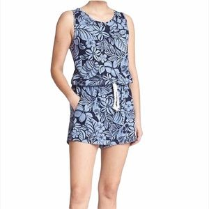 Gap Blue Floral Cotton Modal Sleeveless Romper